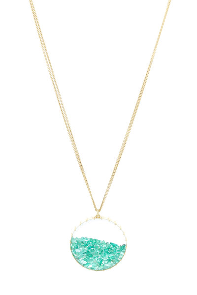Renee Lewis - Yellow Gold Green Emerald Shake Necklace