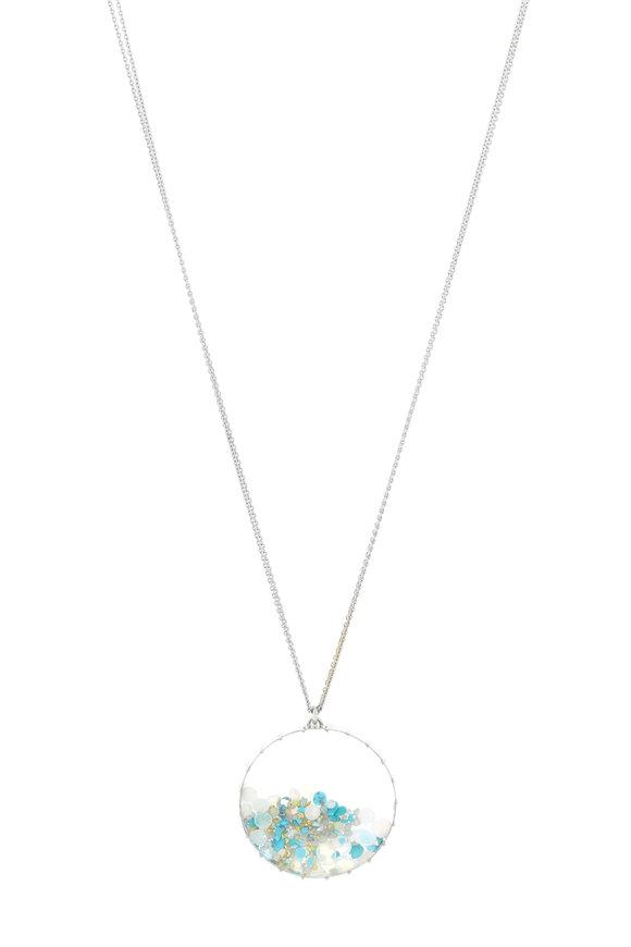 Renee Lewis Gold Opal Aqua Turquoise Diamond Shake Necklace