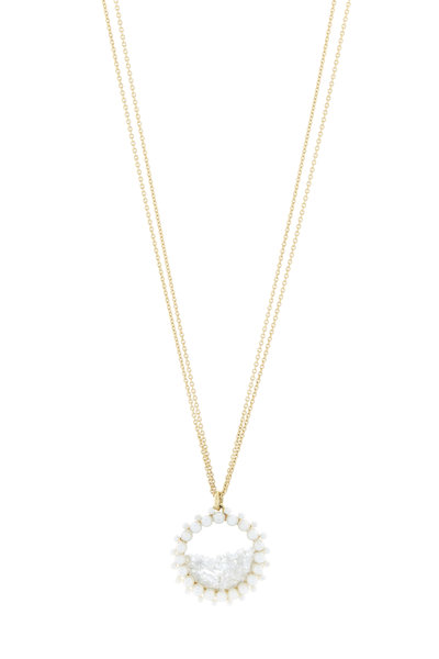 Renee Lewis - Gold Natural Pearl Rimmed Diamond Shake Necklace