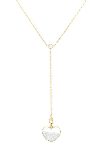 Renee Lewis - Gold Y-Chain White Diamond Heart Shake Necklace