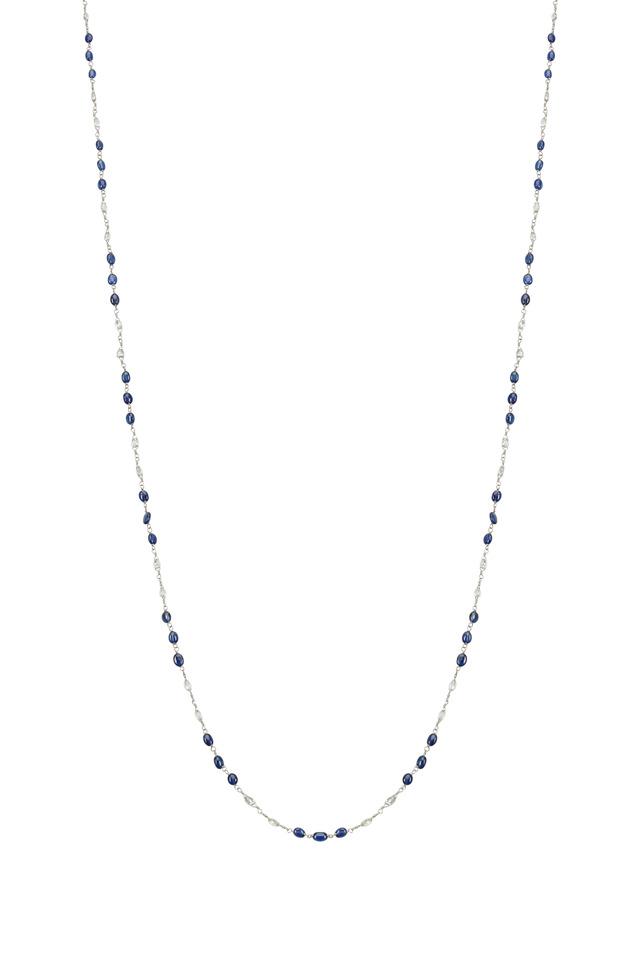Platinum Blue Sapphire Stations Diamond Necklace