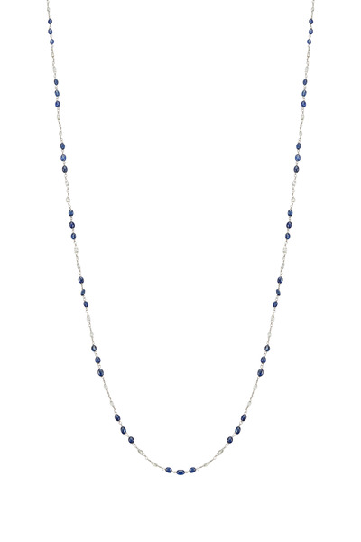 Paul Morelli - Platinum Blue Sapphire Stations Diamond Necklace