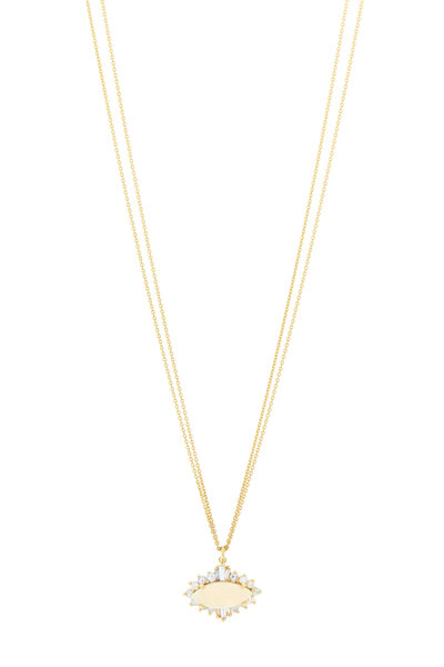 Renee Lewis - Yellow Gold Opal Diamond Necklace
