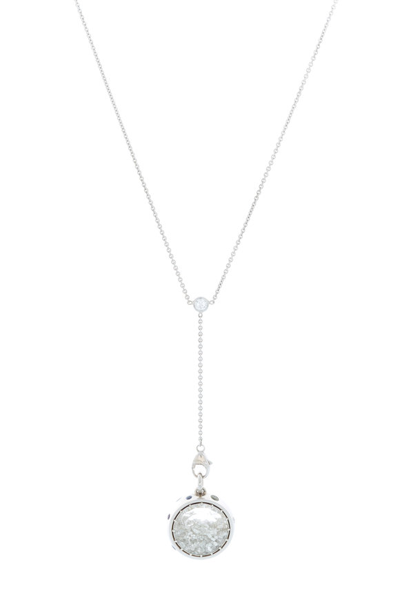 Renee Lewis White Gold White Sapphire & Diamond Shake Necklace