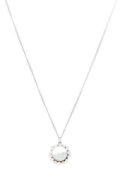 Renee Lewis - 18K White Gold Pearl & Diamond Shake Necklace