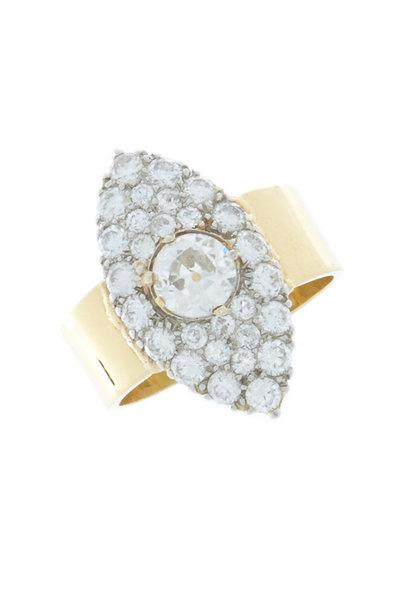 Renee Lewis - Yellow Gold Antique Diamond Marquise Ring