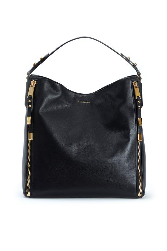 Miranda Zipper Black Leather Hobo