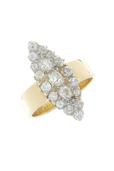Renee Lewis - 18K Yellow Gold Antique Diamond Marquise Ring