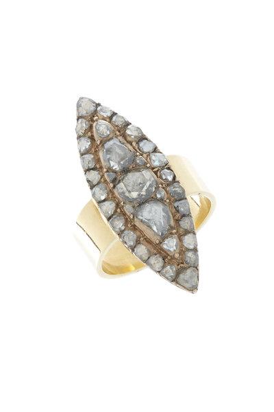 Renee Lewis - Yellow Gold Rose-Cut Diamond Marquise Ring