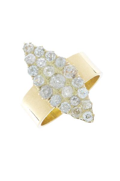 Renee Lewis - 18K Yellow Gold Antique Diamond Marquise Ring