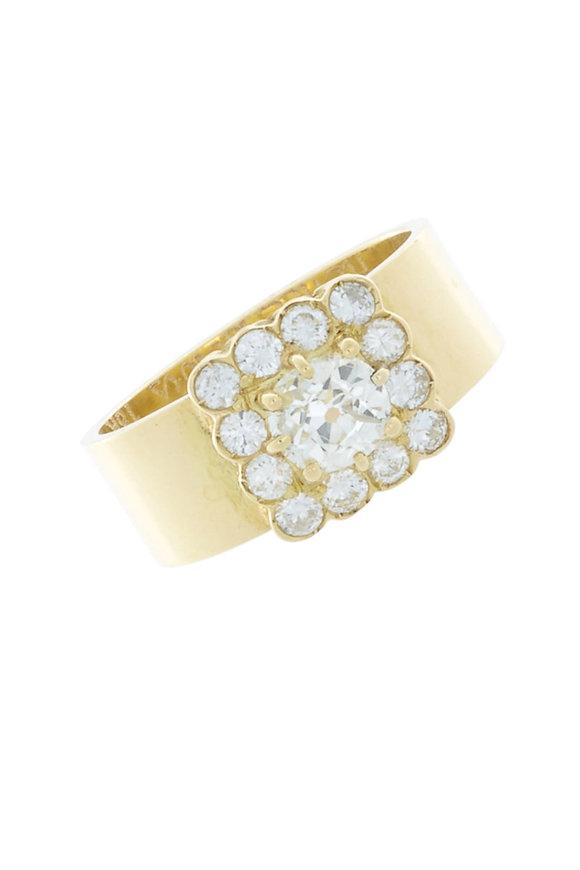 Renee Lewis Yellow Gold Antique Diamond Square Ring