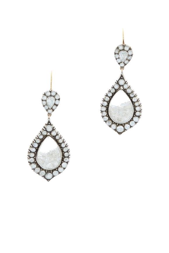 Renee Lewis Yellow Gold White Diamond Shake Earrings