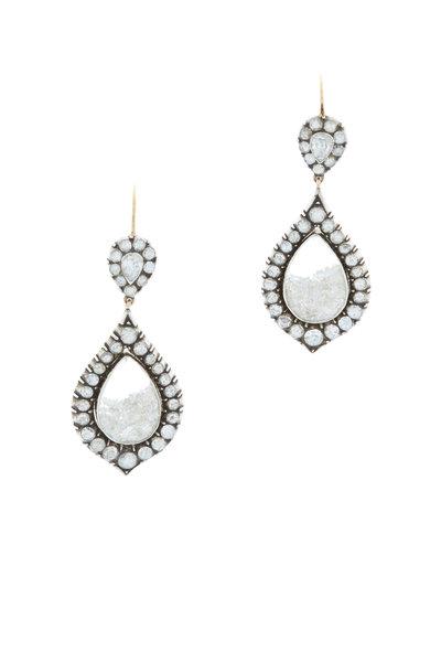 Renee Lewis - Yellow Gold White Diamond Shake Earrings