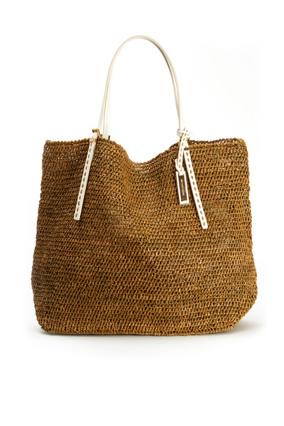 Michael Kors Collection - Santorini Raffia & White Leather Tote