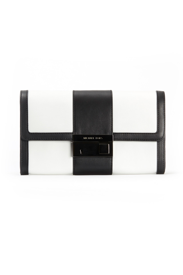 Black And White Leather Colorblock Clutch