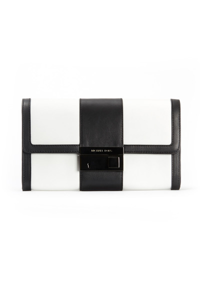 Michael Kors Collection - Black And White Leather Colorblock Clutch