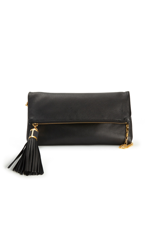 Black Leather Soft Flap Clutch