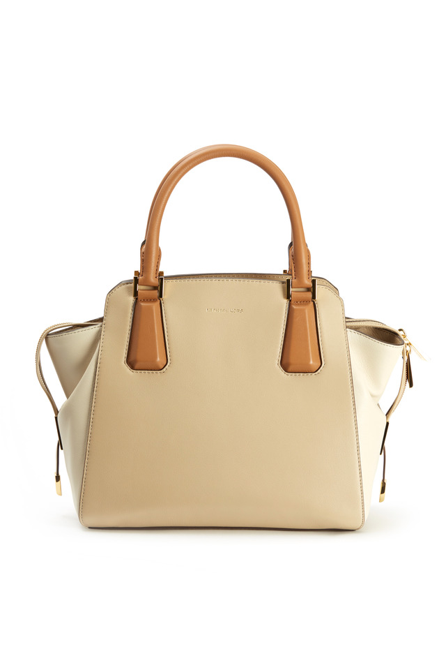 Miranda Tan Colorblock Leather Satchel