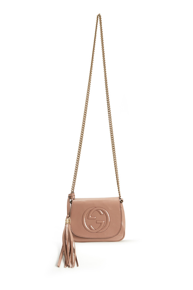 Soho Blush Patent Leather Front Flap Chain Bag