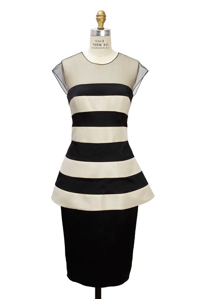 Black & Ivory Satin Dress