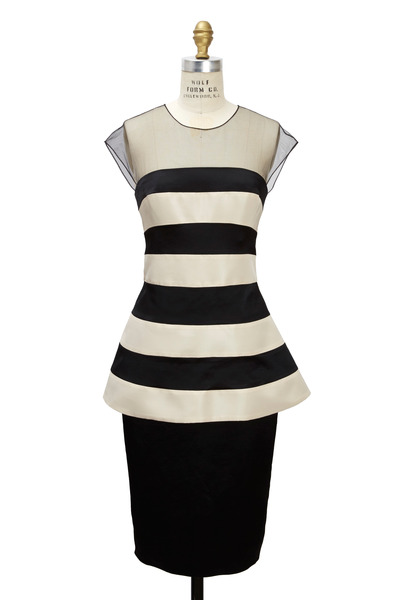 Lela Rose - Black & Ivory Satin Dress
