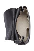 The Row - Sideby Black Pebbled Calfskin Shoulder Bag