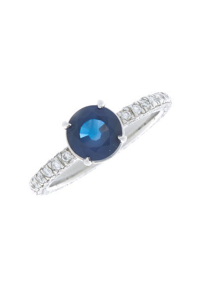 Louis Newman - Blue Sapphire & Diamond Bridal Ring