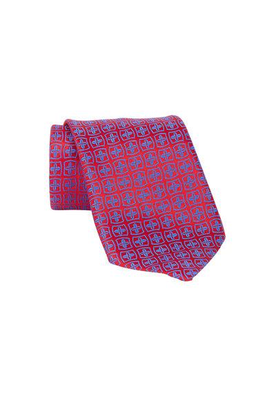 Charvet - Red & Blue Floral Silk Necktie