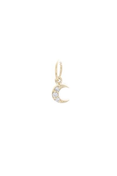 Emily & Ashley - Yellow Gold Diamond Moon Charm Pendant