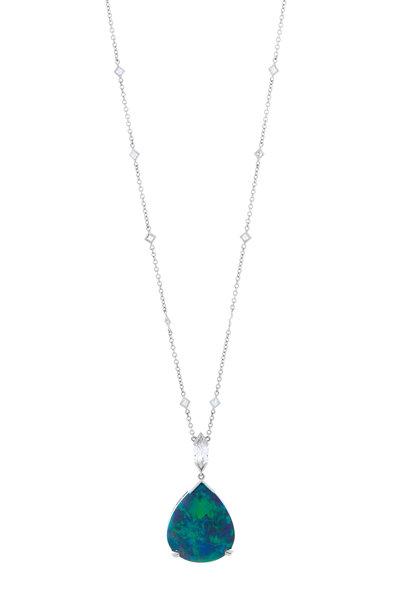 Oscar Heyman - Platinum Opal Diamond Pendant Necklace