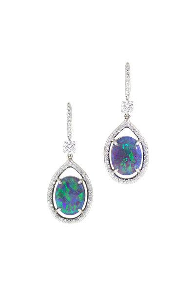 Oscar Heyman - Platinum Opal Diamond Earrings