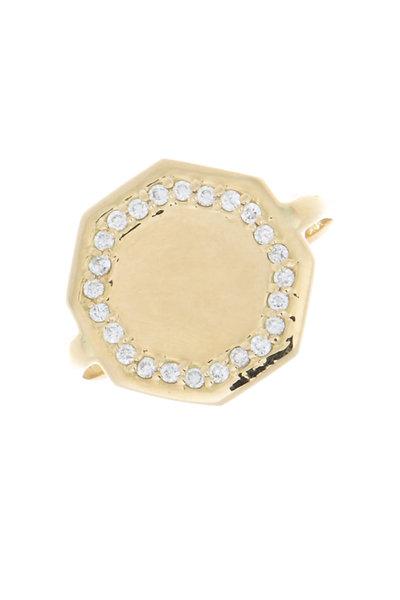 Emily & Ashley - Yellow Gold Octagon Monogram Diamond Ring