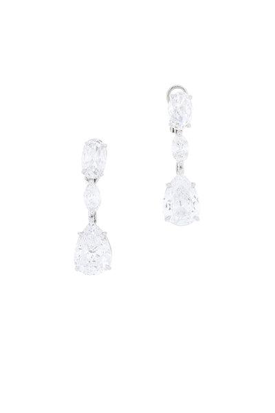 Louis Newman - Platinum Diamond Drop Earrings