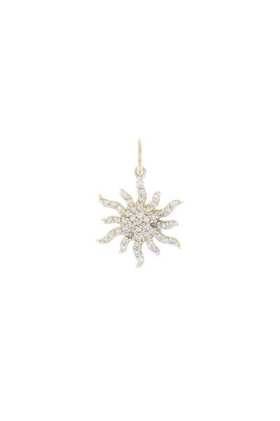 Emily & Ashley - Yellow Gold Diamond Sunburst Charm Pendant