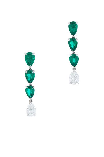 Oscar Heyman - Platinum Emerald Diamond Dangle Earrings