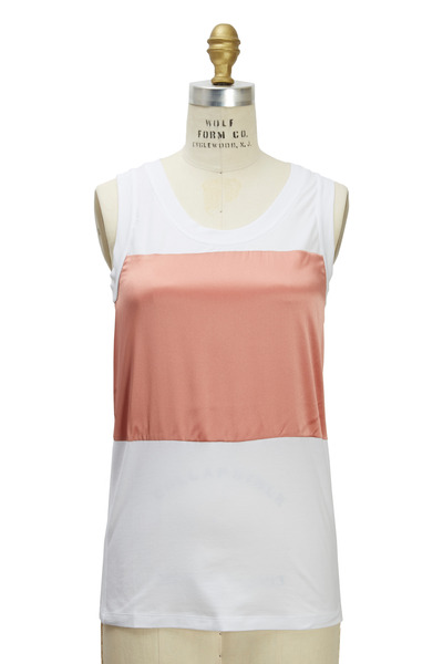 Brunello Cucinelli - White & Grapefruit Cotton & Satin Tank Top