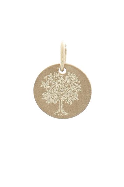 Emily & Ashley - Yellow Gold Tree Of Life Charm Disc