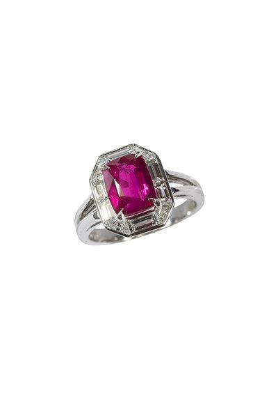Oscar Heyman - Platinum Ruby & Diamond Cocktail Ring