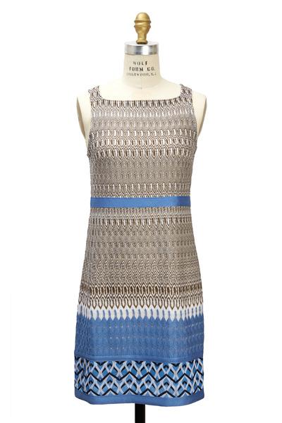 Missoni - Blue Mini Greek Key Fabric Sleeveless Dress