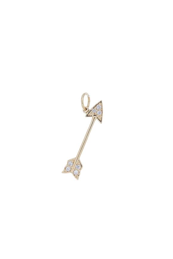 Emily & Ashley Yellow Gold Diamond Arrow Charm Pendant
