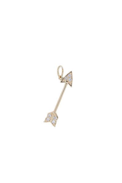 Emily & Ashley - Yellow Gold Diamond Arrow Charm Pendant