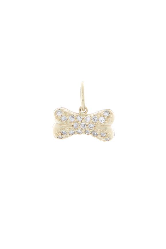 Emily & Ashley Yellow Gold Diamond Dog Bone Charm Pendant