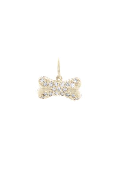 Emily & Ashley - Yellow Gold Diamond Dog Bone Charm Pendant