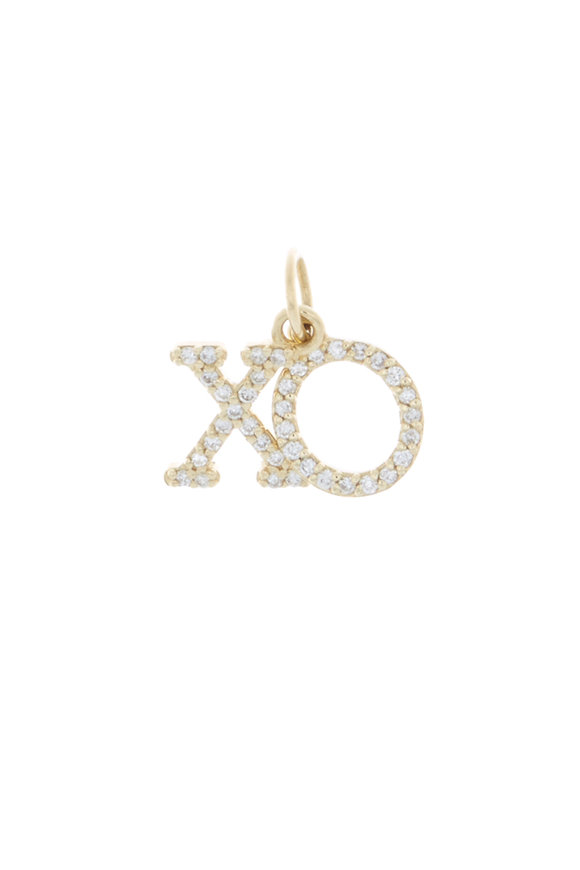 Emily & Ashley Yellow Gold Diamond XO Charm Pendant