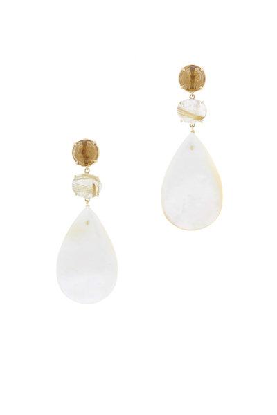 Emily & Ashley - Gold Topaz Quartz Crystal Three Tier Drop Earrings