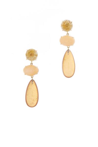 Emily & Ashley - Gold Citrine & Moonstone Three Tier Drop Earrings