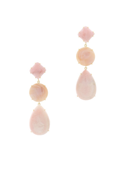 Emily & Ashley - Pink Gold Mother Of Pearl Three Tier Drop Earrings