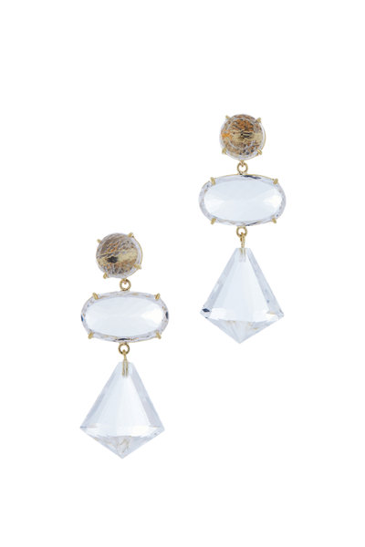Emily & Ashley - Gold Quartz Crystal Three Tier Drop Earrings