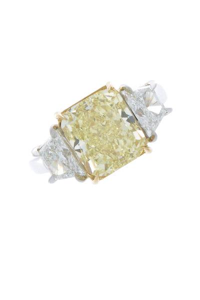 Oscar Heyman - Gold & Platinum Fancy Diamond Ring