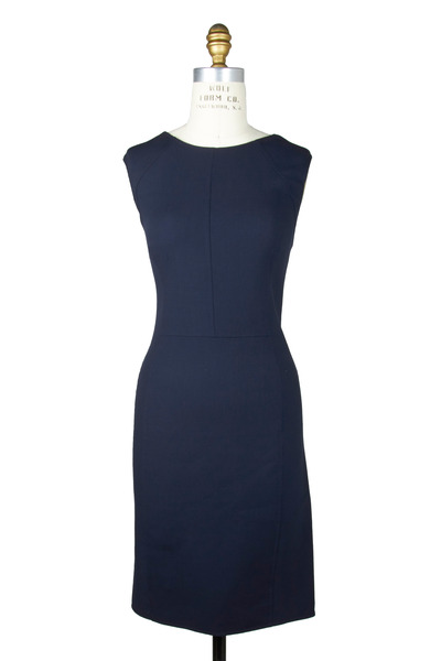 Oscar de la Renta - Navy Blue Crepe Dress